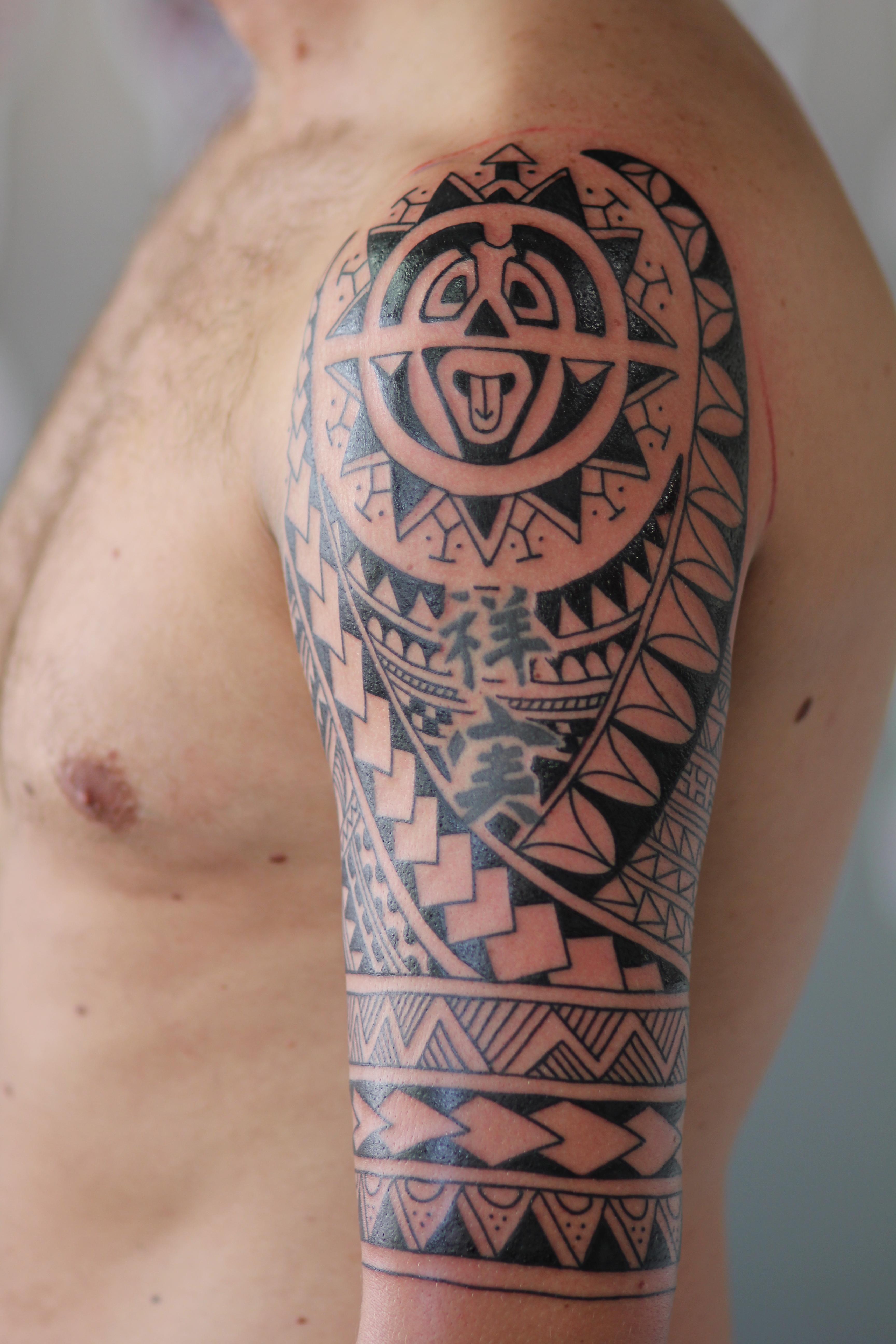 Irish Street Tattoo Polynesian Inspired Half Sleeve