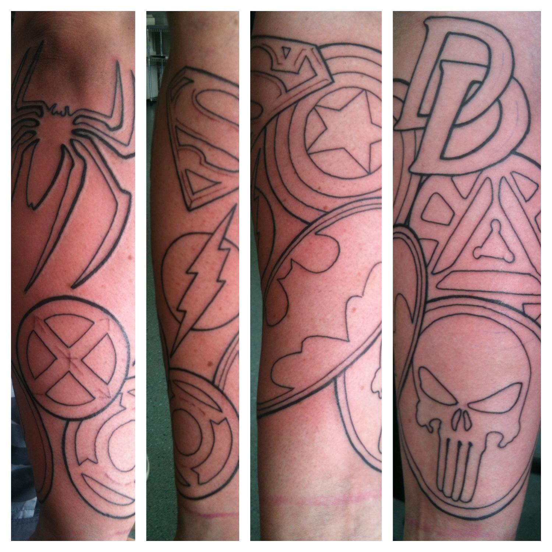 Irish street tattoo superhero sleeve started irish st for Superhero tattoo sleeve