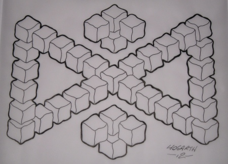 Drew up two impossible triangles interlinked