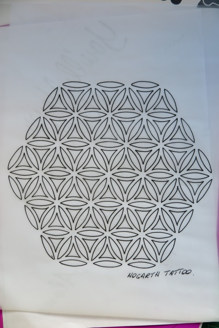 Flower of life drawing for dot shading. It has no border so could be joined for repeats of pattern.