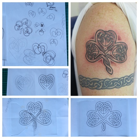 My client wanted a Celtic Shamrock and yes, I could have copied one off the web, but I wasn't happy with them. So here's what I drew up from scratch. It wasn't easy and took a while to draw.