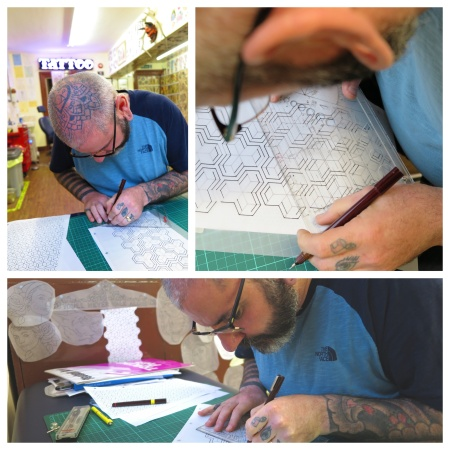 rotring pen technical drawing geometric tattoo irish street belfast downpatrick